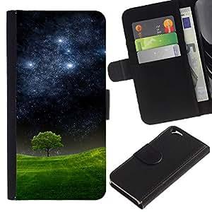 KingStore / Leather Etui en cuir / Apple Iphone 6 / Noche estrellada Meadow árbol Naturaleza Mystic