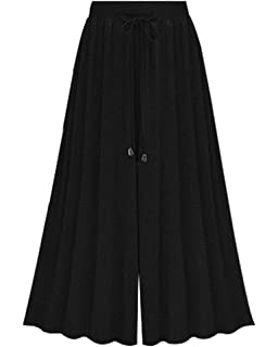 f4763b4c8b8 Womens Baggy Plus Size High Waist Culottes Casual Comfy Chiffon Long ...
