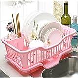 Large Kitchen Crockery Drain Rack Shelf Kitchen Pod Dish Rack (pink)