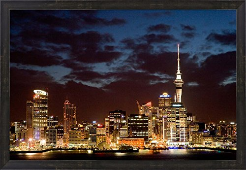 Auckland CBD, Skytower and Waitemata Harbor, North Island, New Zealand by David Wall / Danita Delimont Framed Art Print Wall Picture, Espresso Brown Frame, 32 x 22 - Auckland Auckland Cbd