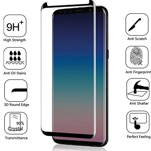 [BISEN] Samsung Galaxy S9 Plus Screen Protector Tempered Glass [3D Curved FULL COVERAGE], Edge-To-Edge Full Screen Cover, Anti-Shock, Anti-Scratch, Lifetime Protection & Replacement