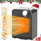 TRUSTECH Electric Space, Portable Ceramic Heater with 1500W Adjustable Thermostat Tip-Over & Overheat Protection, 3s Instant Warm, Oscillating, Home Floor Desk Fan Office Garage Ind Small Black