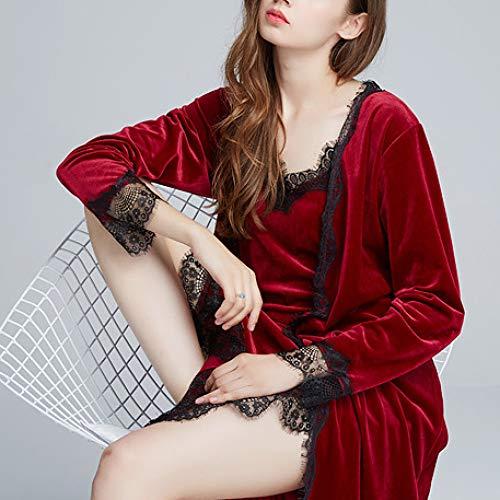 De Bata Red excluyendo Mujer Largo Lujo Para Pijamas Lujoso Otoño Nupcial Liga Boda Olliuge Albornoz Terciopelo Invierno Falda RwFqI4wtx