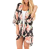 Women's Swimsuit Floral Chiffon Kimono Cardigans Beach Cover Up Plus Size Bathing Suit Wrap Cover Ups(Black,M)