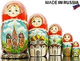 Russian Nesting Doll - Hand Painted in Russia - Moscow Memories- Traditional Matryoshka Babushka (Style B)