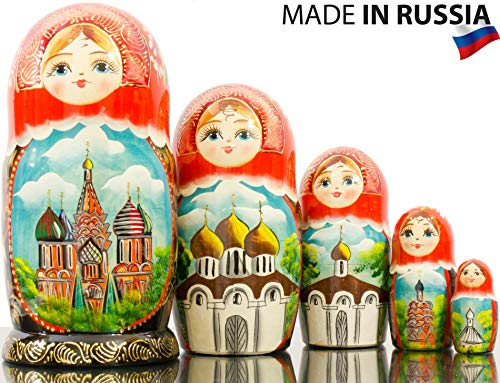 Russian Nesting Doll - Hand Painted in Russia - Moscow Memories- Traditional Matryoshka Babushka (Style B) by craftsfromrussia (Image #1)