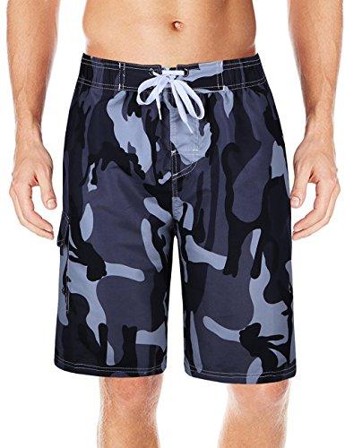 Men's Camo Swim Trunks Quick Dry Board Shorts (L,Gray)