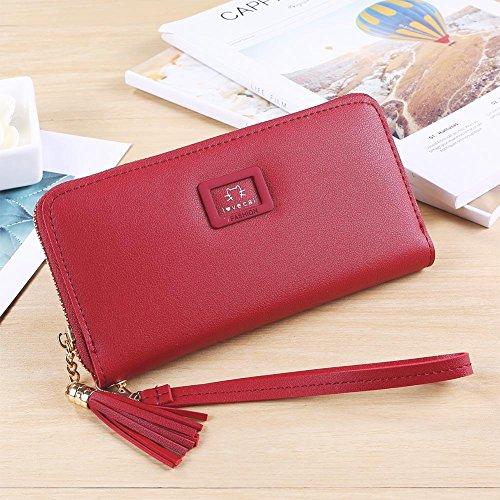 Tassels Long Women Wallets Coin Cat Clutch Red Domybest Purse PU Lovely Wristlet Leather zOq0xFwg