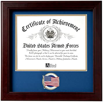 Allied Frame Us American Flag Certificate Of Achievement Picture Frame With Medallion 8 X 10 Inch Opening Home Kitchen Amazon Com