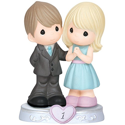 (Precious Moments,  Through The Years - 1st Anniversary, Bisque Porcelain Figurine, 143017)
