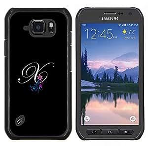 Stuss Case / Funda Carcasa protectora - Negro Iniciales de la letra de la caligrafía del texto - Samsung Galaxy S6 Active G890A