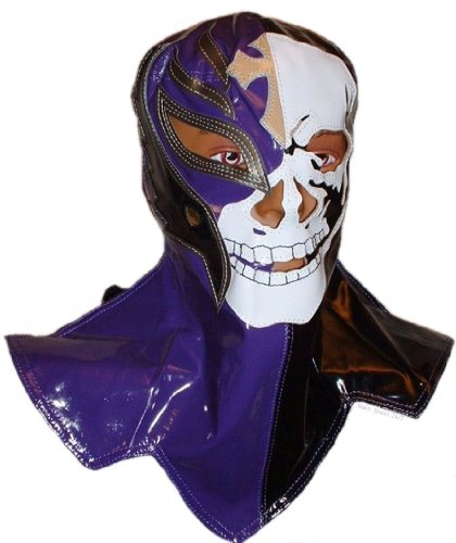 WWE Licensed Rey Mysterio Youths Kid Size Over The Head Replica Skull Mask Blue