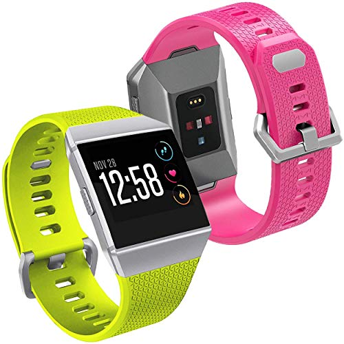 EAPF Compatible Fitbit Ionic Accessories Bands,Classic Replacement Sport Wristband Strap with Buckle Fitbit Ionic Men Women Kids Colors 2 Pack Hot Pink Lime Green Small