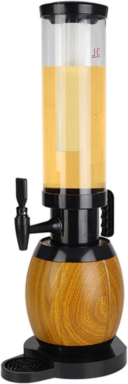 Dispensador de torre de bebidas de cerveza, con luces de hielo y luces LED, dispensador de vino de jugo de bebidas claras con base, perfecto para fiestas,3L