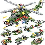 968 Pieces City Police Helicopter Building Blocks Set, Military Army Airplane Building Kit, with Police Car, S