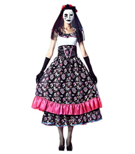 JJ-GOGO Day of Dead Costume - Halloween Spanish Lady Fancy Cosplay Costume for Women ()