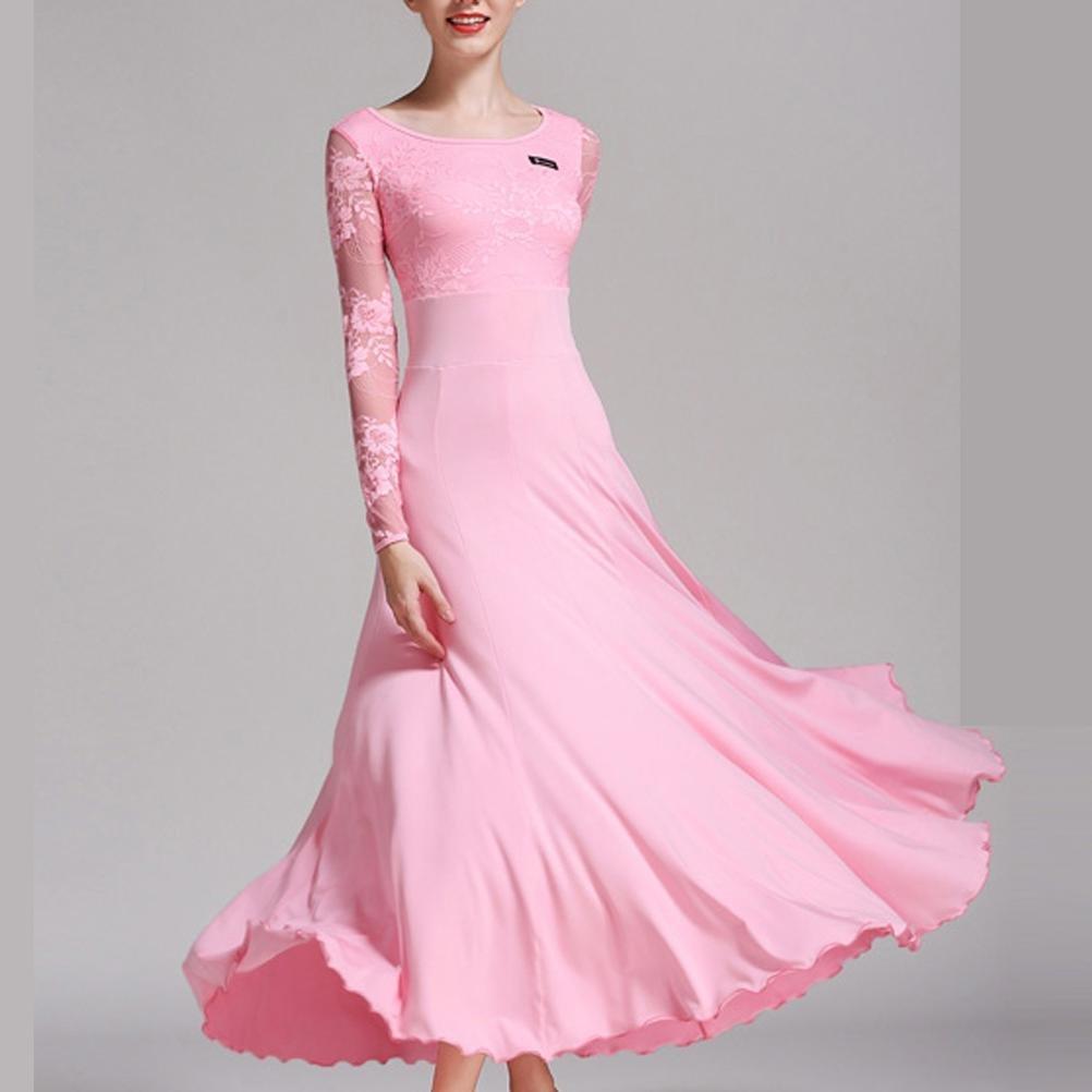 Rose Femmes Fibre de Lait Robes de Danse de Salon épissure de Dentelle Manches Longues Robe de Perforhommece XXL
