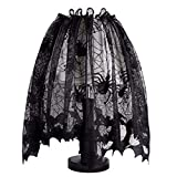 vLoveLife 20 x 60 inch Halloween Lamp Shade Lampshades Cover Topper Scarf Spider Web Black Lace Ribbon Decoration