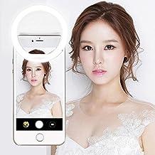 Selfie Ring Light, FeBite Selfie LED Lighting Camera 36 LEDs 3-Level Brightness Clip On for iPhone 7 6 6S Plus 5S SE iPad Samsung Galaxy S7 S6 Edge Plus Sony, Motorola and all Smart Phones (White)