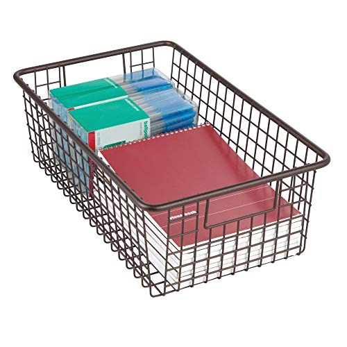 mDesign Farmhouse Decor Metal Wire Home Storage Organizer Bin Basket Holder with Handles - for Desk, Office Supplies, Paper, Colored Pencils, Markers, Tape, Folders, Notepads - 16