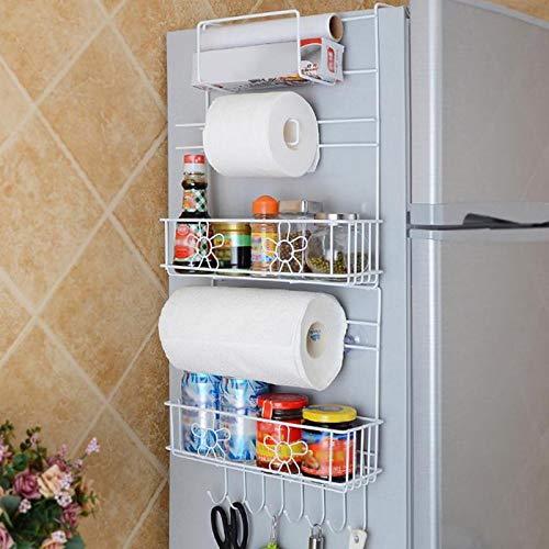 Kitchen Nevera Estante lateral estante de pared lateral multiusos estante de almacenamiento Crack soporte multi-capa nevera...