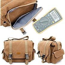 Tan Brown Large Canvas Bag for Fluke 115 Compact True-RMS Digital Multimeter,Fluke 116 HVAC Multimeter and Fluke 117 Electricians True RMS Multimeter-by DURAGADGET