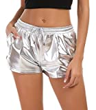Tandisk Women's Yoga Hot Shorts Shiny Metallic Pants with Elastic Drawstring Silver M