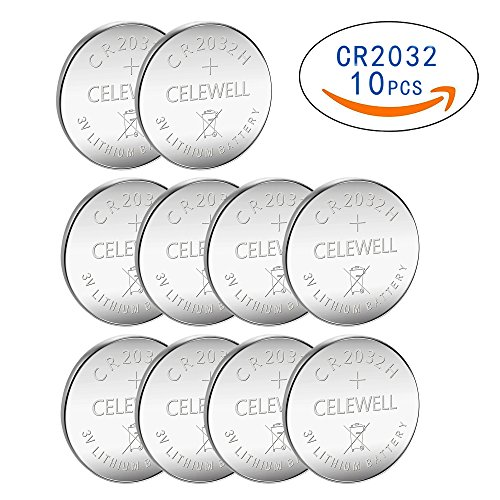 10 Pack CELEWELL CR2032 Battery 230mAh 3 Volt Lithium Battery Coin Button Cell 3 Years Warranty Card Cmos Battery