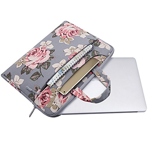 MOSISO Laptop Shoulder Bag Compatible 13-13.3 Inch MacBook Pro, MacBook Air, Surface Book, Notebook Computer, Canvas Rose Pattern Laptop Shoulder Messenger Handbag Case Cover Sleeve, Gray by MOSISO (Image #1)