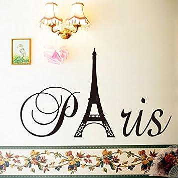 English Letters Paris Eiffel Tower Wall Decal Home Sticker PVC Murals Vinyl  Paper House Decoration Wallpaper