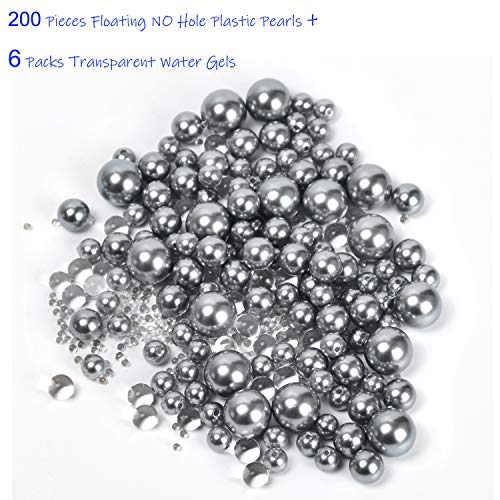 Z-synka Assorted Plastic Bead Pearls,200Piece Sale Floating NO Hole Plastic Pearls + Includes 6Pack Transparent Water Gels for Floating The Pearls,Wedding,Birthday Party Home Decoration, etc,Gray -