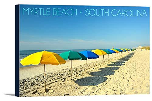 Myrtle Beach, South Carolina - Beach Umbrellas (24x16 Gallery Wrapped Stretched Canvas) (Beach Myrtle Beach Umbrella Sc)