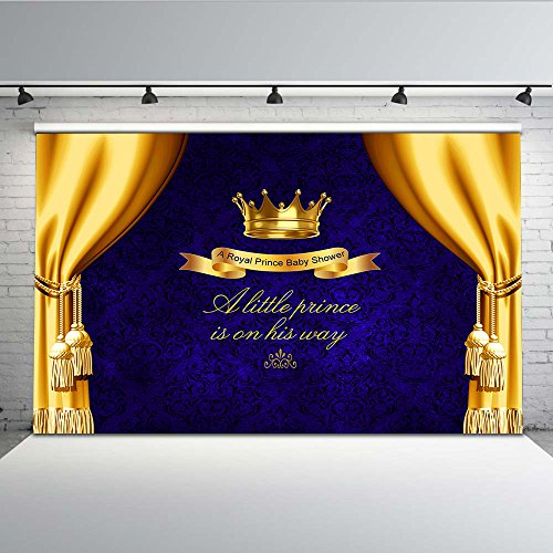 Mehofoto Blue Baby Shower Backdrop Yellow Curtain Photo Background for Little Prince Newborn Baby Children 7x5 Professional Customized Photography Backdrops Photoshoot -