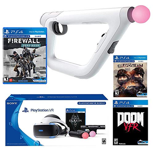 Stand Sony A/v (Playstation VR FPS Deluxe Bundle (5 Items): Playstation VR Skyrim Bundle, PSVR Doom VFR Game, PSVR Bravo Team Game, PSVR Firewall Zero Hour Game and PSVR Aim Controller)