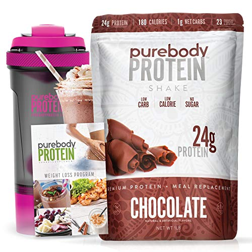 Pure Body Protein Shake & Supplement Starter Kit, 16 oz, 24g Protein, Low Sugar, Low Carb, 180 Calorie Meal Replacement, Smart Shaker Cup and Nutrition Guide (Chocolate)