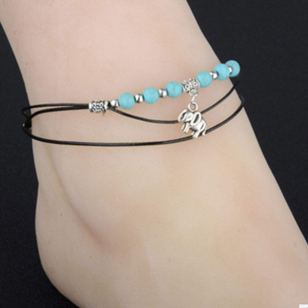Sandal Barefoot Turquoise Ankle Silver Jewelry Anklet Bracelet Foot Chain