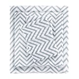 Intelligent Design Blend Jersey Knit Full, Coastal Cotton, Grey Chevron Bed Set 4-Piece Include Flat, Fitted Sheet & 2 Pillowcases