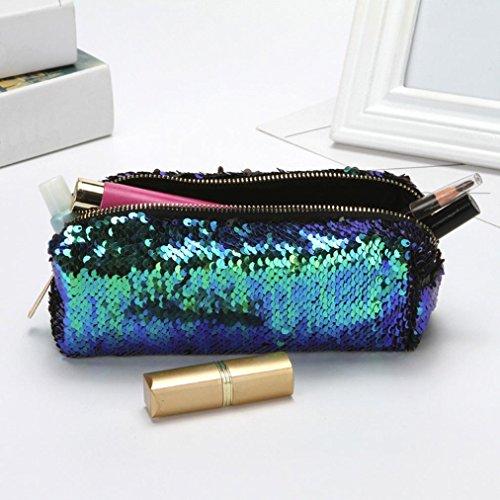 LHWY Unisex Moda Doble Color Lentejuelas Bolso CosméTico Bolsa De Maquillaje Bolsa Verde