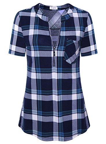 Bulotus Tunic Tops for Leggings for Women Plaid Shirt Short Sleeve Blue XL (Pb Tunic)