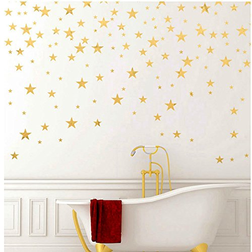 Gold Stars Wall Decal (130 Decals) Stars Pattern DIY Wall Stickers Removable Home Decoration Metallic Vinyl Polka Wall Decor Sticker for Baby Kids Nursery Bedroom
