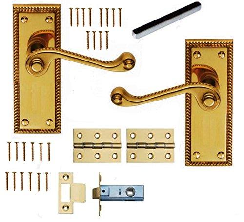 Bulk Hardware BH05873 Georgian Internal Door Latch Pack - Polished Brass