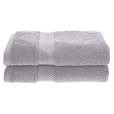 Superior Rayon from Bamboo and Cotton Towels, Velvety Soft and Super Absorbent, Hotel & Spa Quality Bath Towel Set of 2 - Chrome, 30  x 54  each