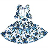 Flofallzique Floral Girls Dress Baby Girls Clothes Summer Birthday Party Toddler Dress(6, Deep Blue)