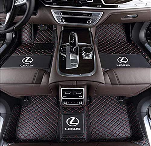 Himent Custom Fit All-Weather 3D Covered Car Carpet FloorLiner Floor Mats for Lexus ES ES200 ES250 ES300 ES350 ES240 ES300h 2005-2019 with Logo(Black red, Lexus ES ()
