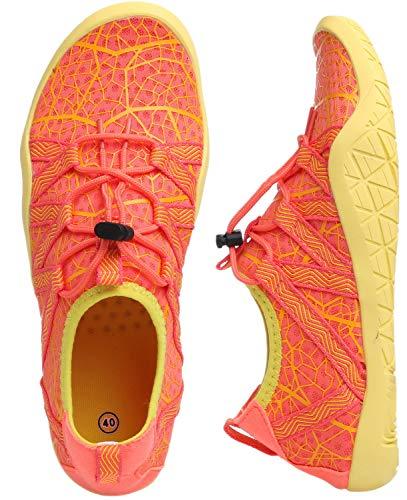 (WHITIN Men's Quick Drying Water Shoes for Aqua Hiking Trail Running Sport Minimalist Barefoot Wave Walking Beach Swim Surf Outdoor Kayaking Athletic Male Orange Yellow Size 8.5)