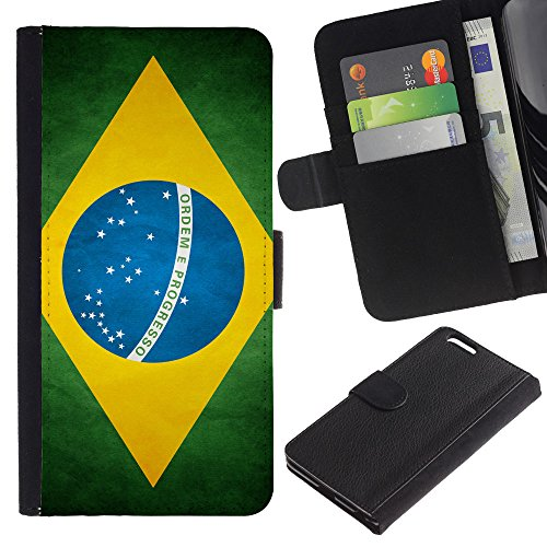 OMEGA Case / Apple Iphone 6 PLUS 5.5 / Brazil Grunge Flag / Cuir PU Portefeuille Coverture Shell Armure Coque Coq Cas Etui Housse Case Cover Wallet Credit Card