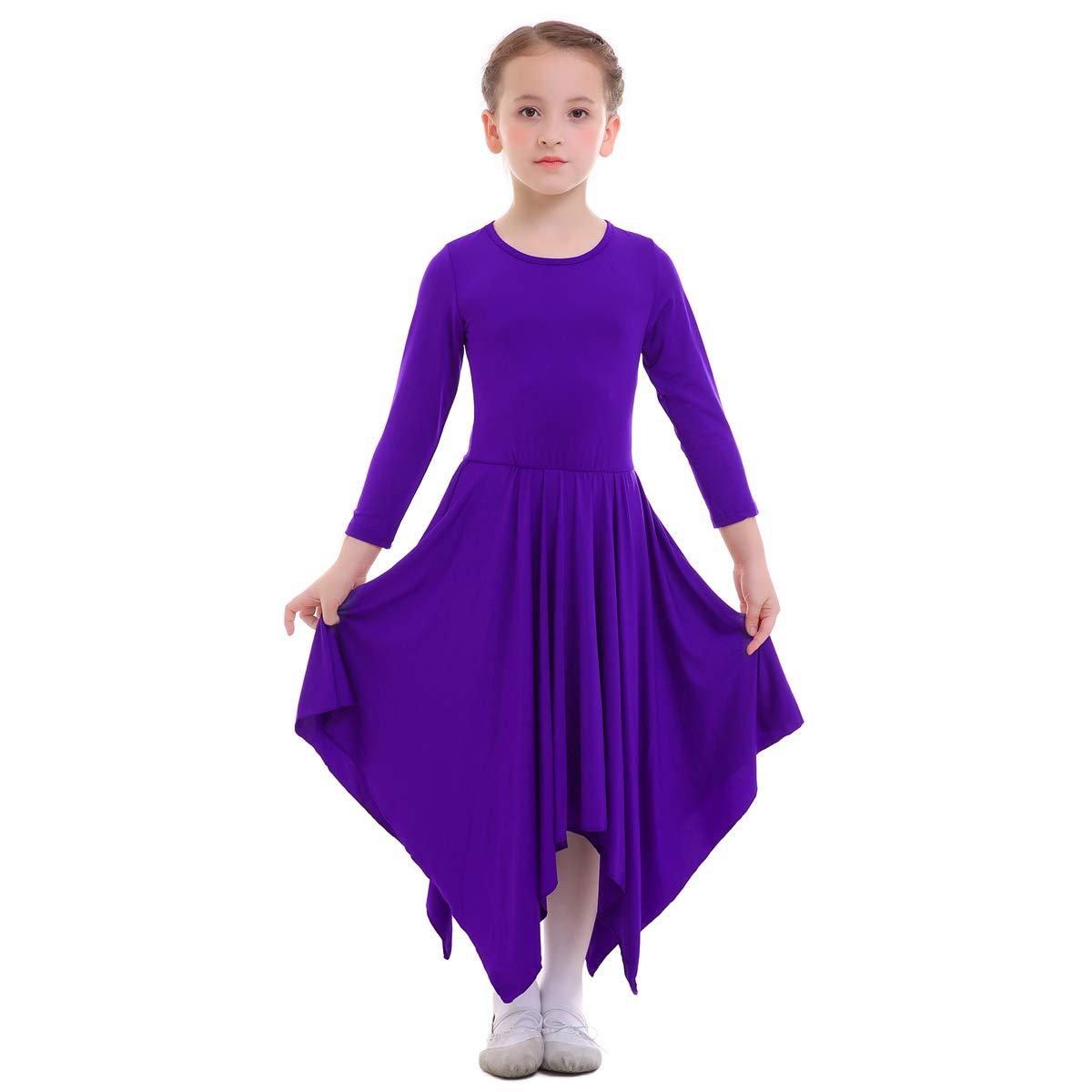 OBEEII Vestito Bambine Liturgico Manica Lunga Asimmetrico Abito da Balletto Ginnastica Classico Danza Combinazione Costume 3-14 Anni