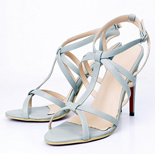 YCMDM Women's Sandals Stiletto Heel Nightclub Party Evening Office Career Fashion Shoes , 37 , light grey