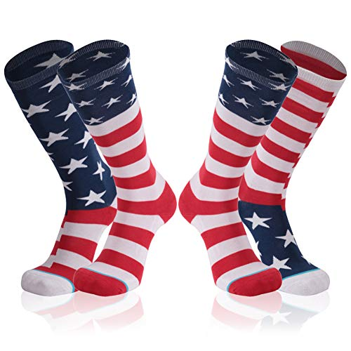 Gmark Running Socks, Women's Red, White, and Blue Patriotic American Flag Performance Crew Socks 2-Pair
