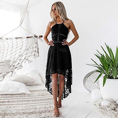 Hem Casual Sexy Cocktail Vintage Donna Abiti Nero LEvifun Estate Elegante Serale Vestiti Vestito Abiti Donne Pizzo Maniche Cerimonia Senza Midi Abito Party Donna 4zwOYv